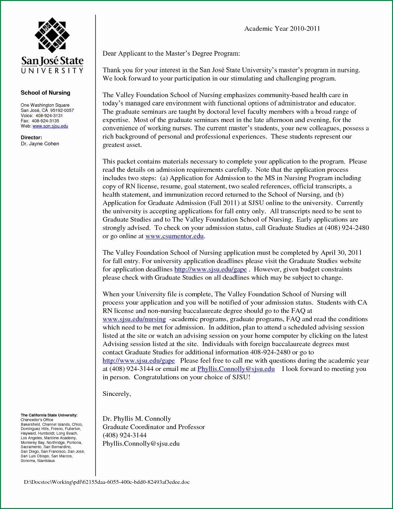 Recommendation Letter for Nursing School Luxury Nursing School Re Mendation Letter Template Samples