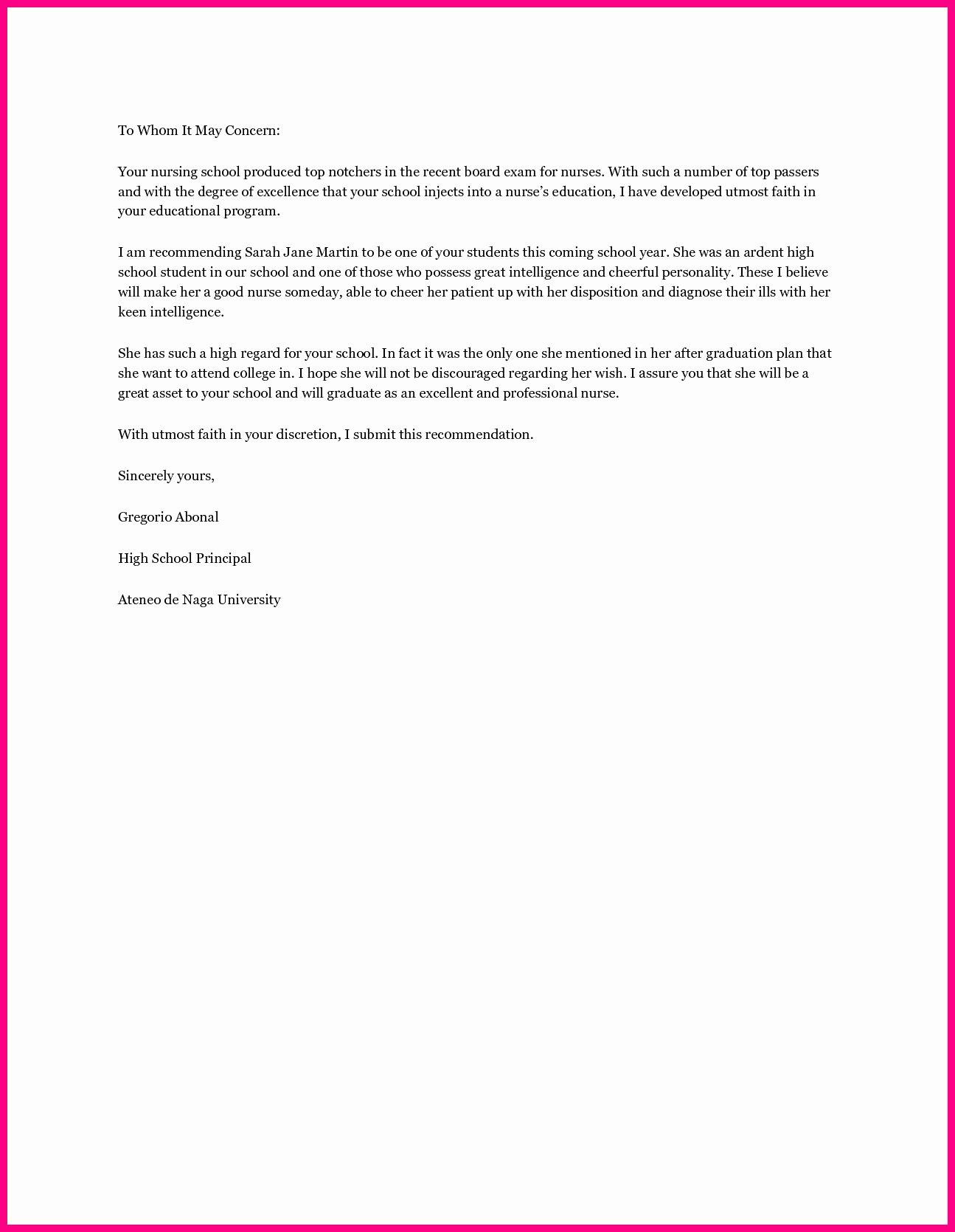 Recommendation Letter for Nursing Student Beautiful Nursing School Re Mendation Letter Template Samples