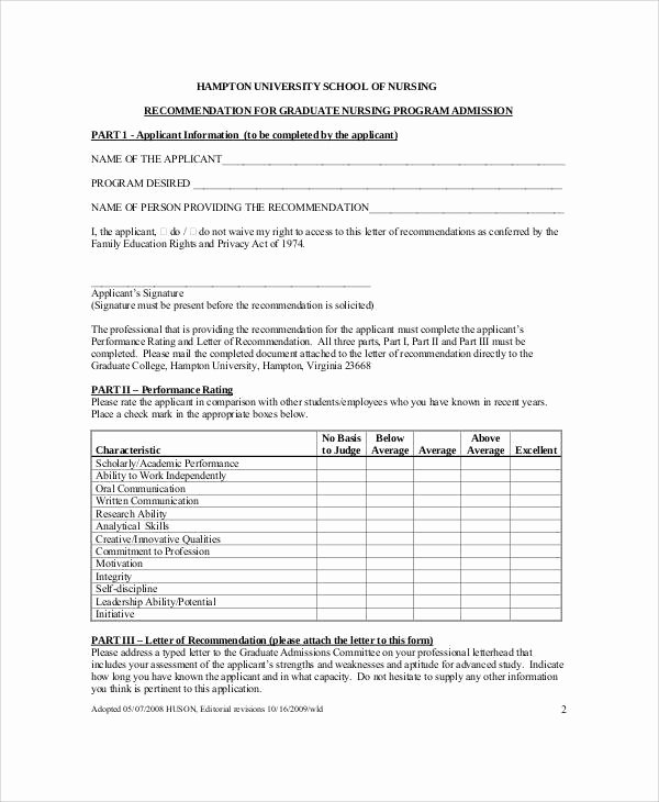 Recommendation Letter for Nursing Student Luxury Sample Nursing Re Mendation Letter 9 Examples In Word Pdf