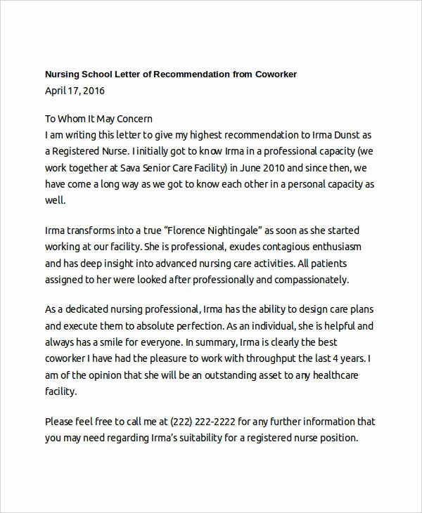 Recommendation Letter for Nursing Student New Coworker Re Mendation Letter 10 Free Word Pdf