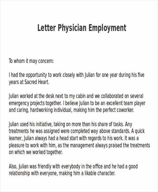 Recommendation Letter for Pa School Luxury 9 Sample Physician Letter Of Re Mendation Word Pdf