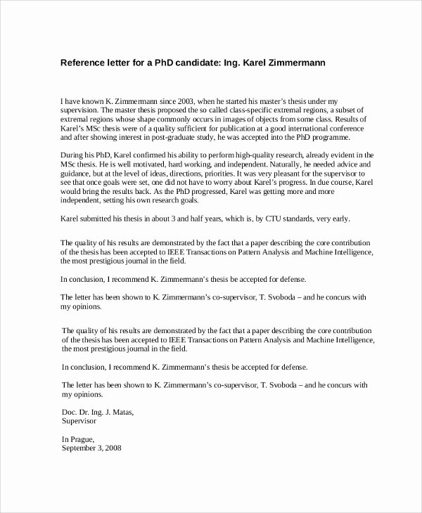 Recommendation Letter for Phd Admission Beautiful 8 Reference Letter Samples Pdf Word