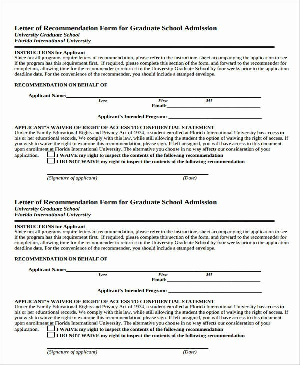 Recommendation Letter for Phd Admission Unique 7 Graduate School Re Mendation Letters Free Sample