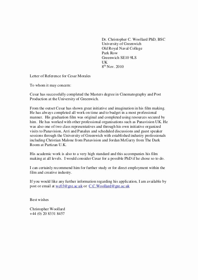 Recommendation Letter for Phd Admission Unique Greenwich Reference Letter