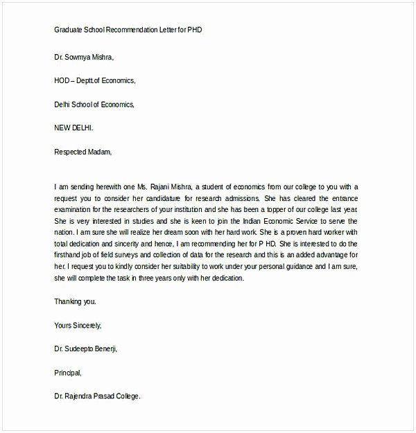 Recommendation Letter for Phd Admission Unique Sample Letter Of Re Mendation for Graduate School From