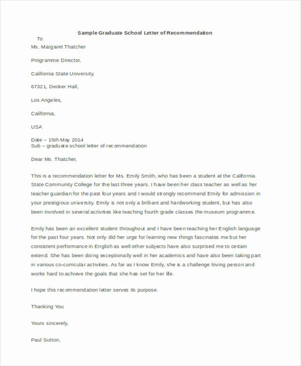 Recommendation Letter for Phd Beautiful 45 Free Re Mendation Letter Templates