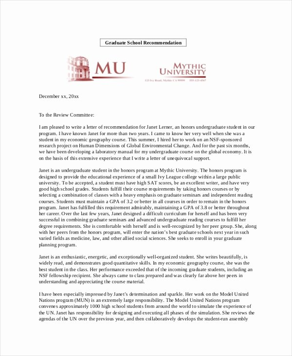 Recommendation Letter for Phd Luxury Sample Personal Re Mendation Letter 4 Free Documents