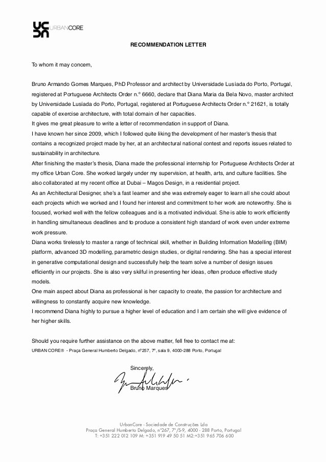 Recommendation Letter for Phd New Re Mendation Letter Bruno Marques Phd Professor