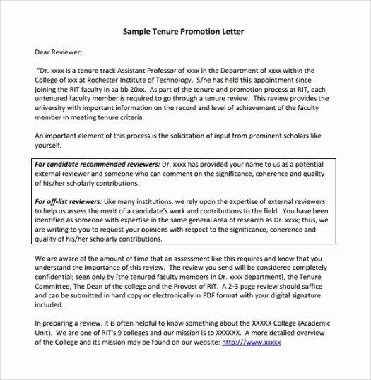 Recommendation Letter for Professor Promotion Lovely Sample Employee Promotion Letters Word Excel Samples