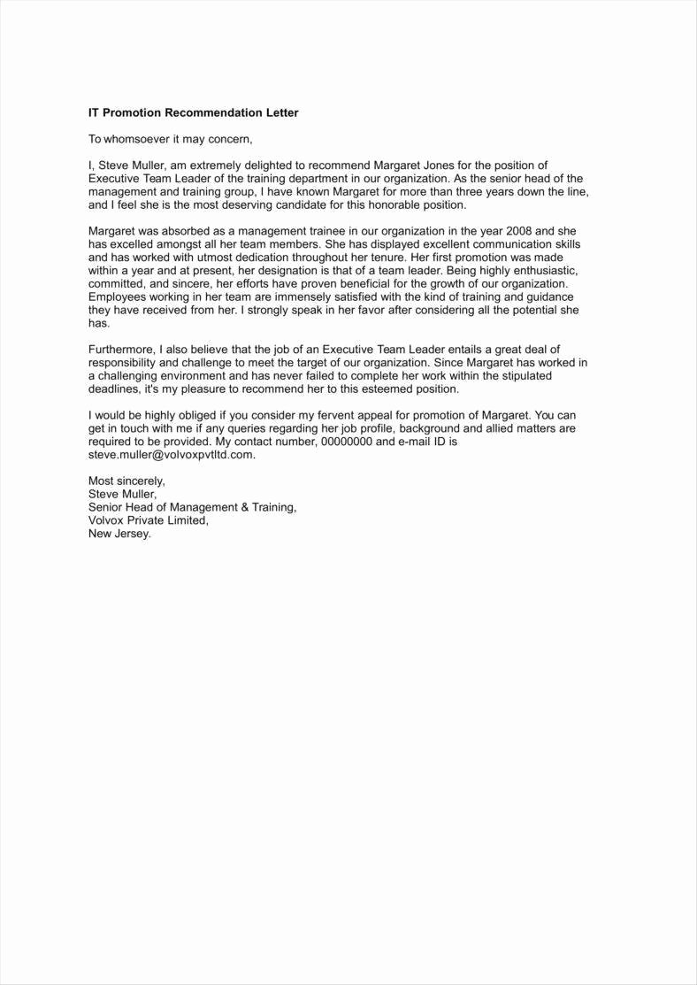 Recommendation Letter for Professor Promotion New 30 Promotion Letters Free Word Pdf Excel format