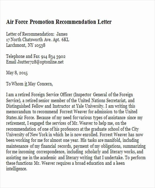 Recommendation Letter for Professor Promotion Unique 11 Sample Promotion Re Mendation Letter Free Sample