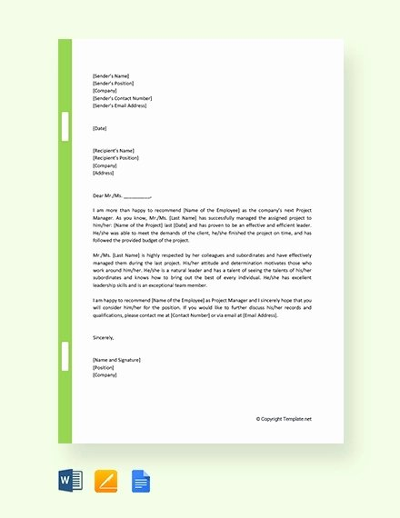 Recommendation Letter for Project Manager Inspirational 12 Promotion Re Mendation Letter Examples Pdf