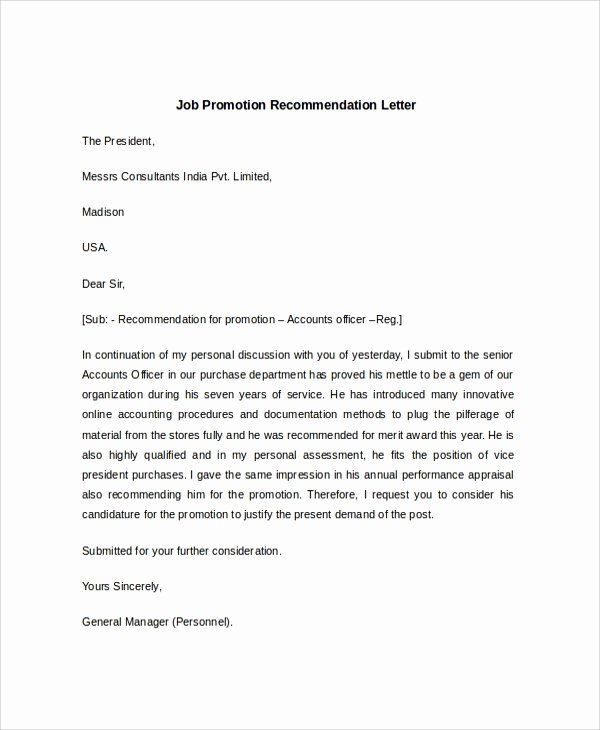 Recommendation Letter for Promotion Awesome 7 Sample Job Re Mendation Letters