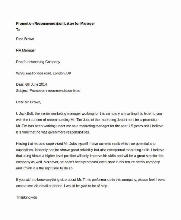Recommendation Letter for Promotion Best Of How to Write A Re Mendation Letter for Staff Promotion
