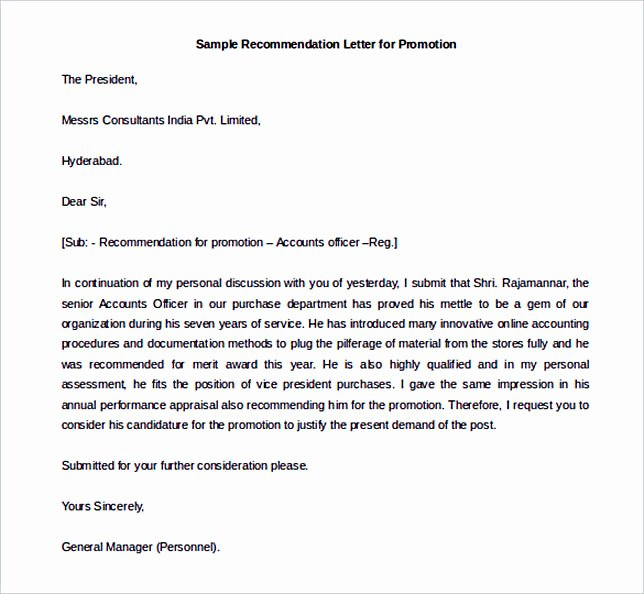 Recommendation Letter for Promotion Fresh Best Re Mendation Letter Template to Use