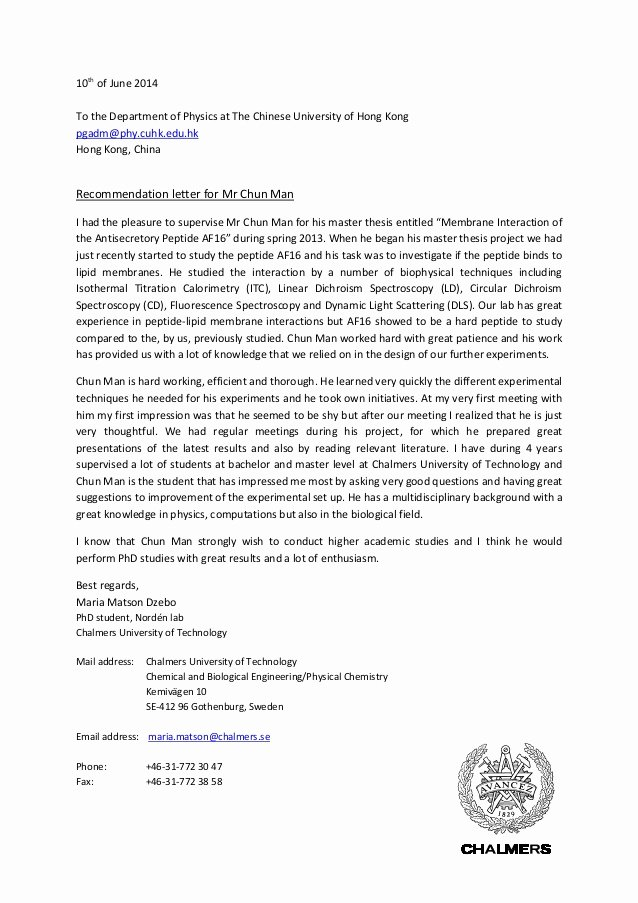 Recommendation Letter for Research New Re Mendation Letter for Chun Man Maria Matson Dzebo