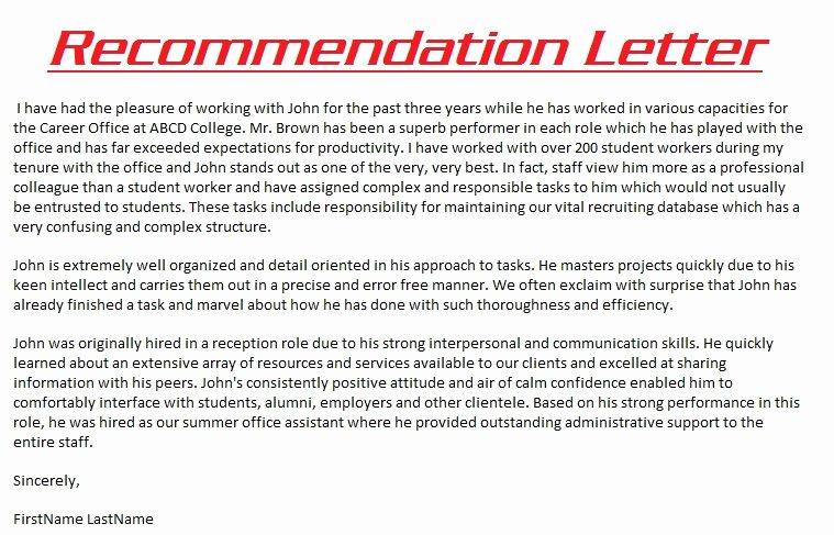 Recommendation Letter for Research Unique Sample Re Mendation Letter 3000
