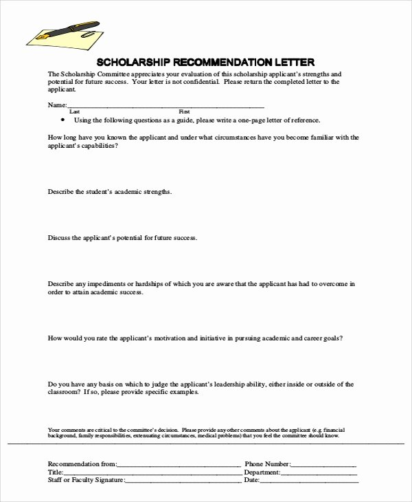 Recommendation Letter for Scholarship Doc Inspirational Sample Letter Of Re Mendation 7 Examples In Word Pdf