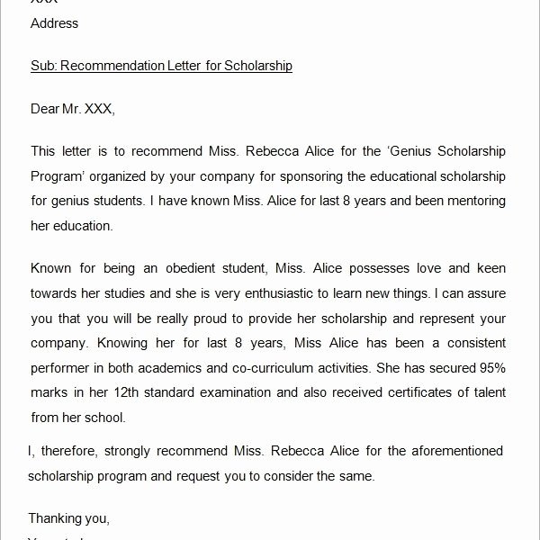 Recommendation Letter for Scholarship Doc Luxury 30 Sample Letters Re Mendation for Scholarship – Pdf