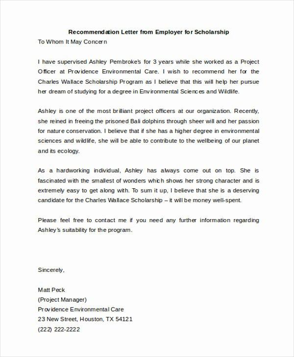Recommendation Letter for Scholarship Elegant 45 Free Re Mendation Letter Templates