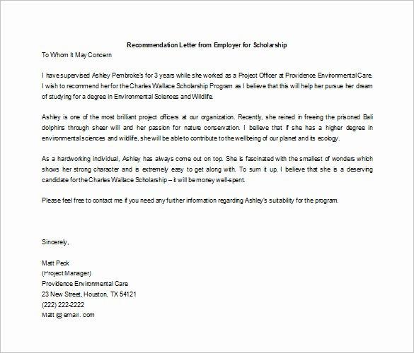 Recommendation Letter for Scholarship Fresh 27 Letters Of Re Mendation for Scholarship Pdf Doc
