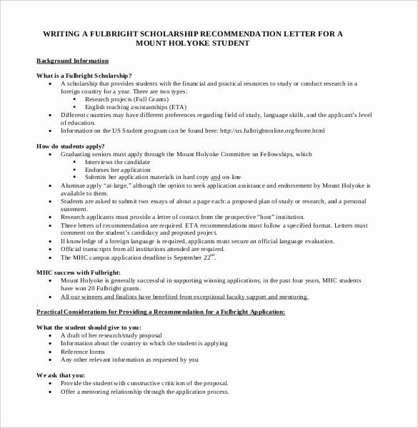 Recommendation Letter for Scholarship Lovely 27 Letters Of Re Mendation for Scholarship Pdf Doc