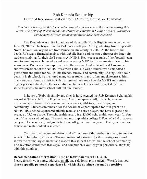 Recommendation Letter for Scholarship Lovely 40 Re Mendation Letter Templates In Pdf