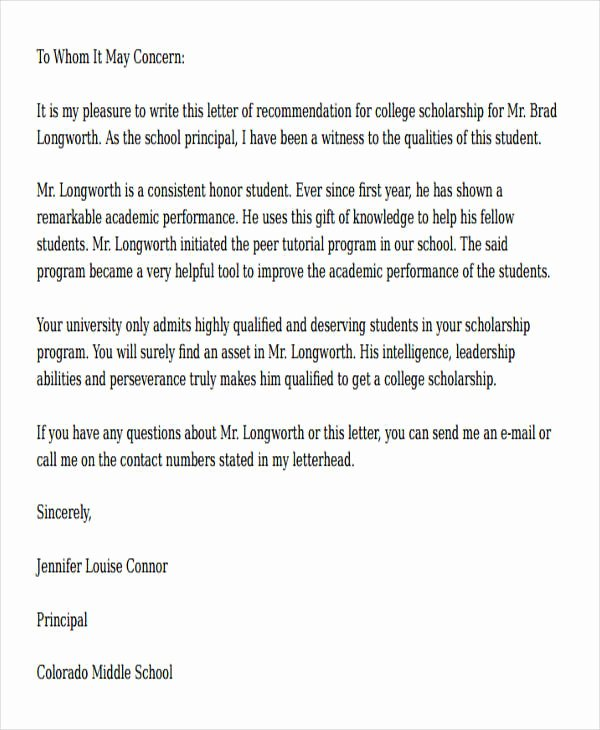 Recommendation Letter for Scholarship Lovely 54 Re Mendation Letter Example Templates