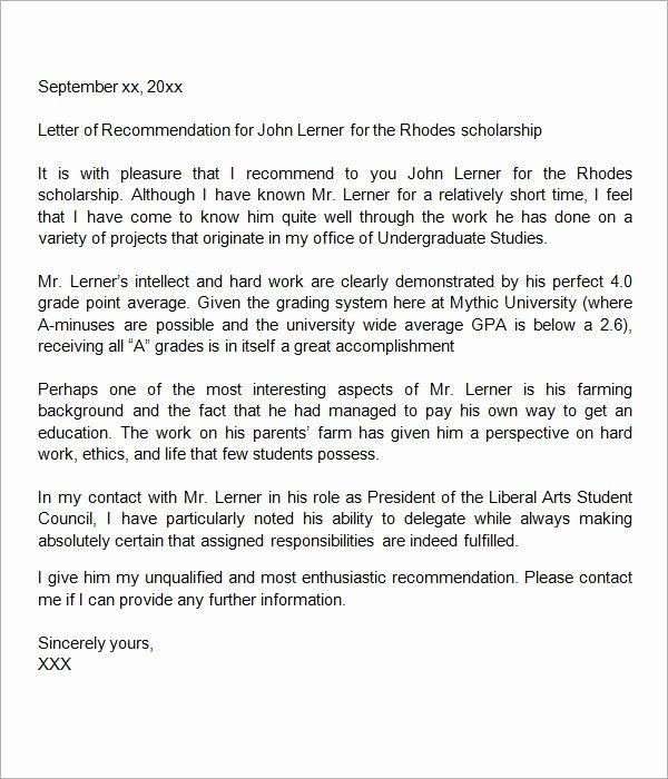 Recommendation Letter for Scholarship Pdf Inspirational Sample Letter Of Re Mendation for Scholarship 29