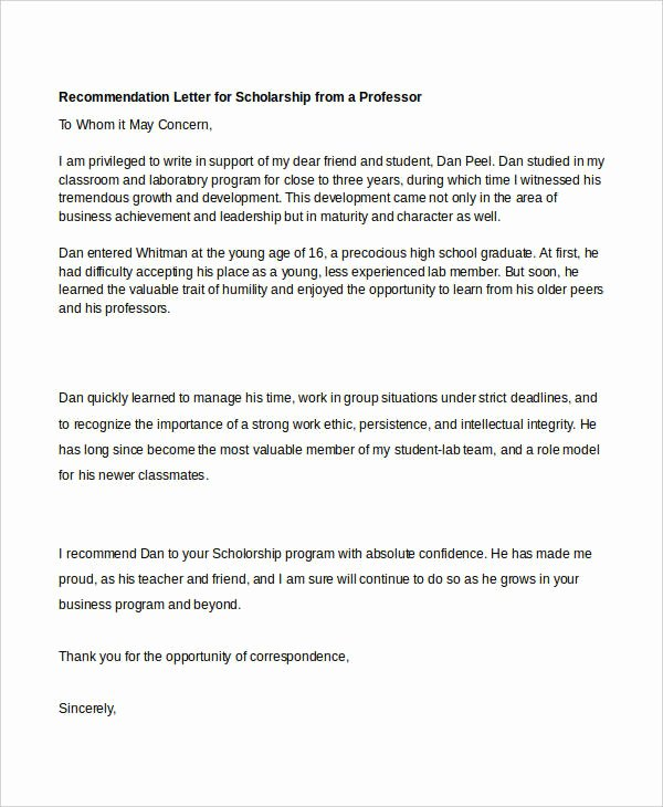 Recommendation Letter for Scholarship Pdf Lovely 40 Re Mendation Letter Templates In Pdf