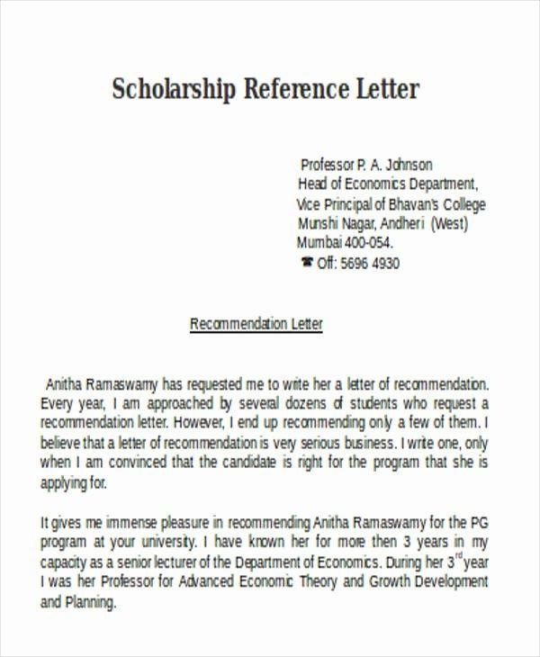 Recommendation Letter for Scholarship Sample Elegant Scholarship Reference Letter Templates 5 Free Word Pdf