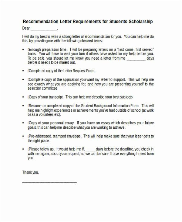 Recommendation Letter for Scholarship Sample Luxury 89 Re Mendation Letter Examples & Samples Doc Pdf