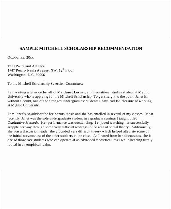 Recommendation Letter for Scholarship Unique 41 Application Letter Templates format Doc Pdf