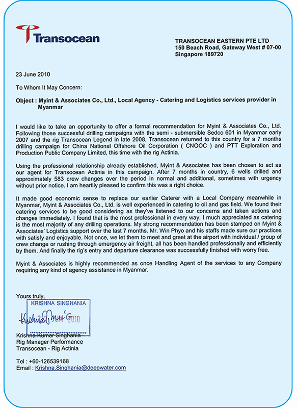 Recommendation Letter for Services Provided Awesome Myint & associates Co Ltd
