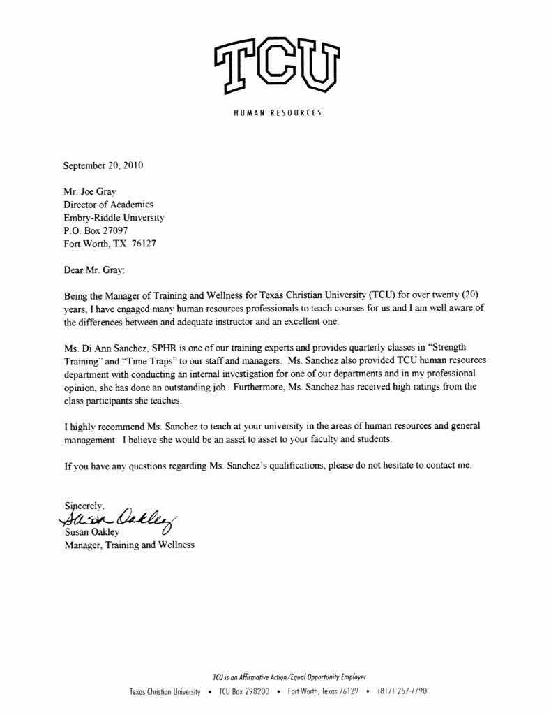Recommendation Letter for Services Provided Beautiful Cover Letter for Hr Training