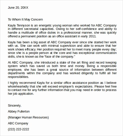 Recommendation Letter for Services Provided Best Of 28 Letter Of Re Mendation In Word Samples