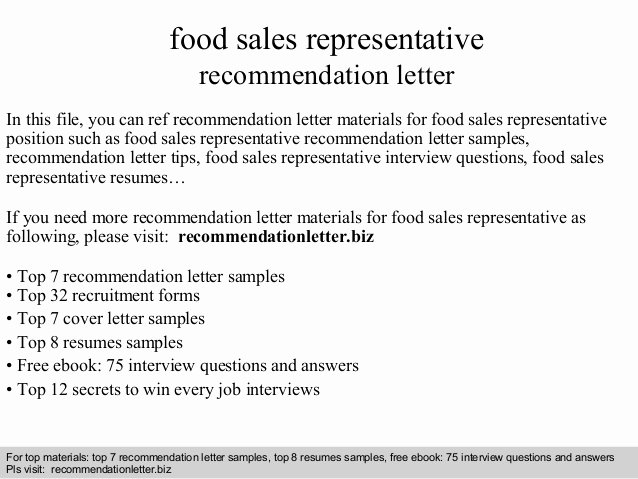 Recommendation Letter for Services Provided Best Of Food Sales Representative Re Mendation Letter
