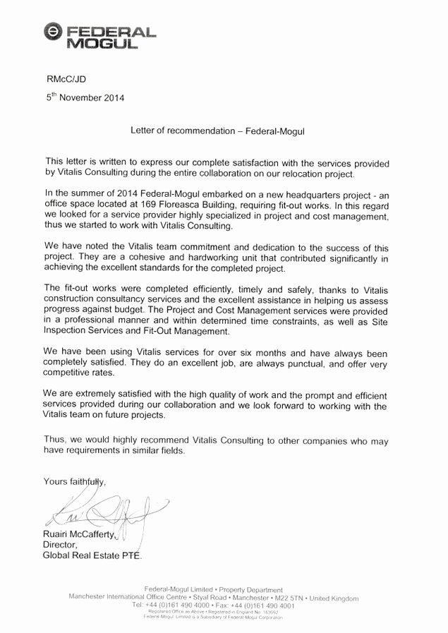 Recommendation Letter for Services Provided Best Of Letters Of Re Mendation