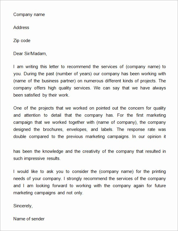 Recommendation Letter for Services Provided Elegant 14 Free Business Reference Letters Doc Pdf
