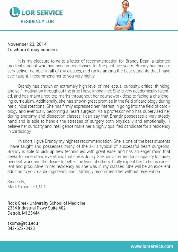 Recommendation Letter for Services Provided Unique Letter Of Re Mendation for Residency Writing Service