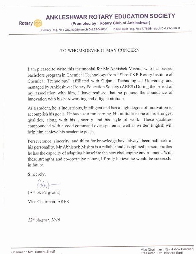 Recommendation Letter for Services Provided Unique Re Mendation Letter Abhishek Mishra Srict Pdf