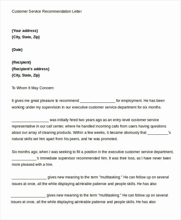 Recommendation Letter for Services Provided Unique Service Re Mendation Letter Templates 12 Free Word