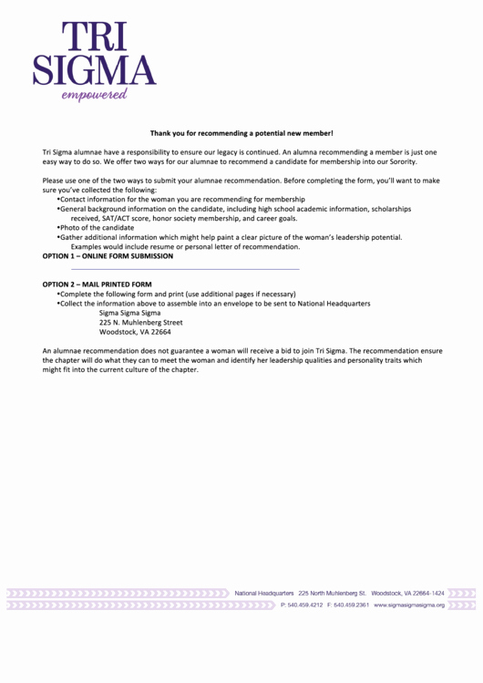 Recommendation Letter for sorority Best Of Fillable Sigma Sigma Sigma Alumnae Re Mendation Letter