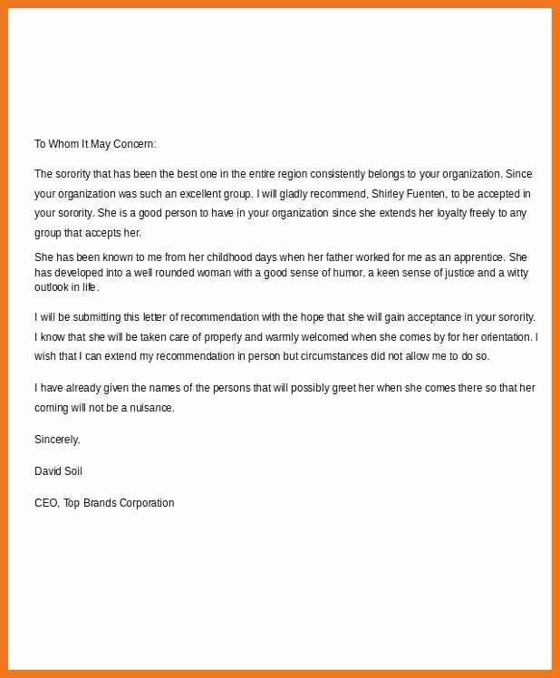 Recommendation Letter for sorority Lovely 7 8 sorority Re Mendation Letter