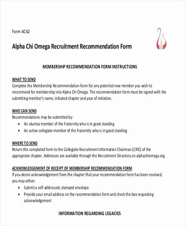 Recommendation Letter for sorority New 7 Sample sorority Re Mendation Letters Pdf Doc