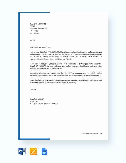Recommendation Letter for Student Scholarship Awesome 27 Letters Of Re Mendation for Scholarship Pdf Doc