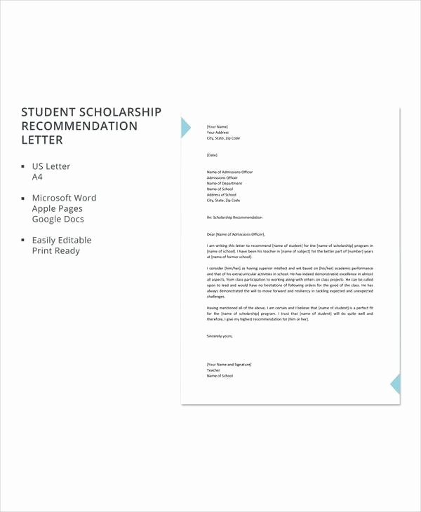 Recommendation Letter for Student Scholarship Beautiful 7 Sample Leadership Re Mendation Letters – Pdf Doc