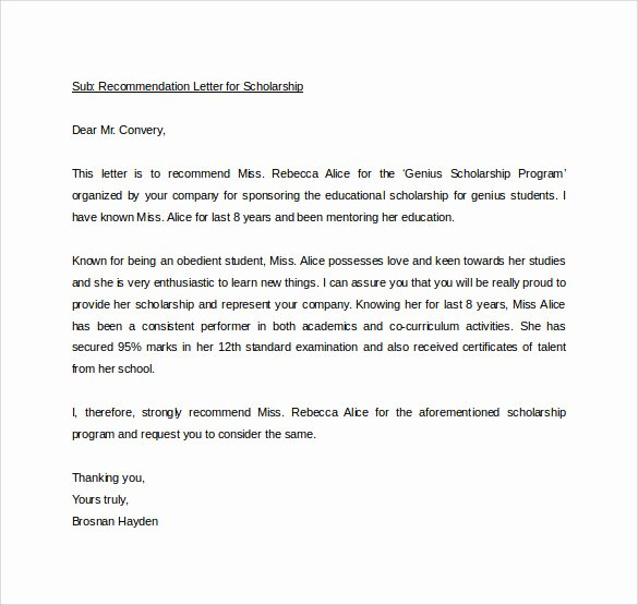 Recommendation Letter for Student Scholarship Beautiful Sample Personal Letter Of Re Mendation 16 Download