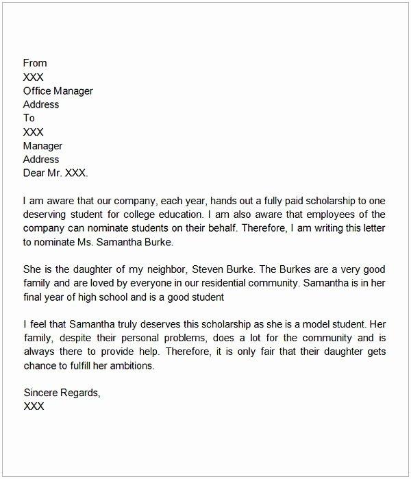 Recommendation Letter for Student Scholarship Inspirational Letter Of Re Mendation for Scholarship