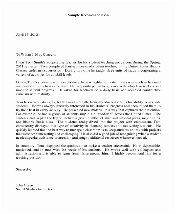 Recommendation Letter for Student Teacher Lovely Sample Teacher Letters Of Re Mendation 6 Free